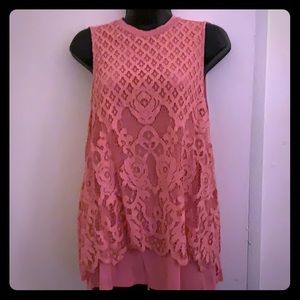 Torrid Pink Lace Front High Neck Sleeveless Top